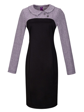 Ericdress Houndstooth Patchwork Long Sleeve Sheath Dress