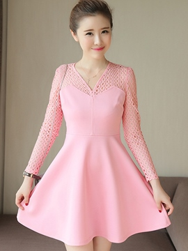 Ericdress V-Neck Hollow Long Sleeve Casual Dress