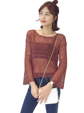 Ericdress Solid Color Hollow Knitwear