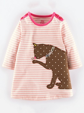 Ericdress Cat Printed Polka Dots Hemming Girls Dress