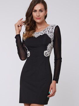 Ericdress Lace Patchwork Back Hole Bodycon Dress