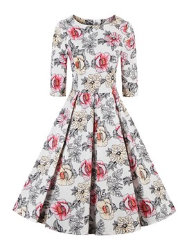 Ericdress Flower Print Round Neck Pleated Casual Dress