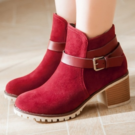 Ericdress Sweet Suede Buckles Ankle Boots