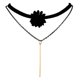 Ericdress Black Flower Decorated Necklace