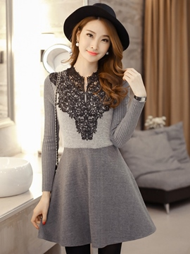 Ericdress Long Sleeve A-Line Autumn Sweater Dress
