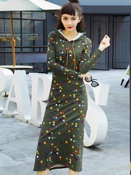 Ericdress Print Hooded Split Straight Maxi Dress