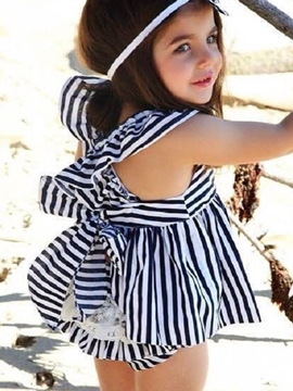Ericdress Strip Falbala Sleeveless Cross Pleated Girls Outfits