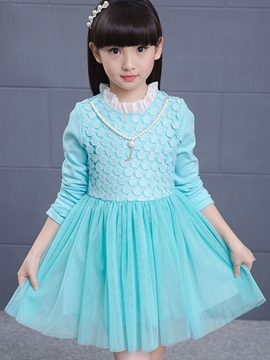 Ericdress Flabala Stand Collar Lace Hollow Pleated Girls Dresses
