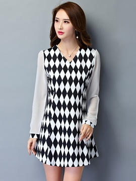 Ericdress V-Neck Long Sleeve Patchwork A-Line Casual Dress