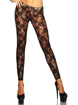 Ericdress Lace Patchwork See Through Leggings Pants
