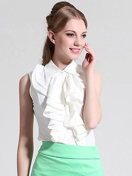 Ericdress Solid Color Frill Sleeveless Blouse
