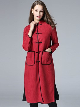 Ericdress Straight Color Block Ethnic Trench Coat