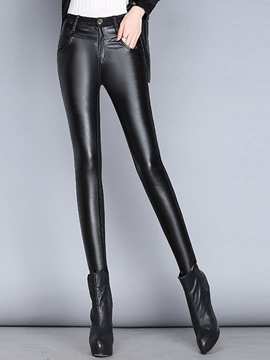 Ericdress Simple Straight Faux Leather Leggings Pants