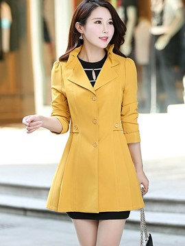 Ericdress Solid Color Slim Polo Pleated Trench Coat