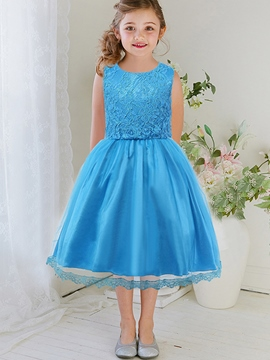 Ericdress Lace Patchwork Lace-Trim Girls Dress