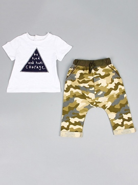 Ericdress Baby Letter Geometrical Printed Camo Two-Piece Boys Outfits