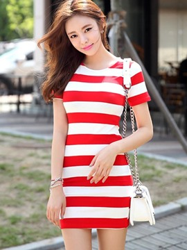 Ericdress Stripe Short Sleeve Bodycon Dress
