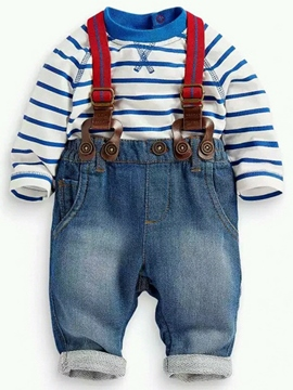 Ericdress Cotton Strip Tee Denim Suspenders Two-Piece Boys Outfits