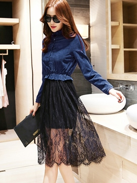 Ericdress Lace Patchwork See-Through Casual Dress