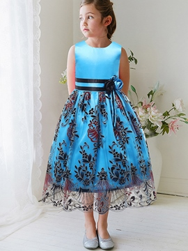 Ericdress Lace Hollow Belt-Trim Floral Patchwork Girls Dress