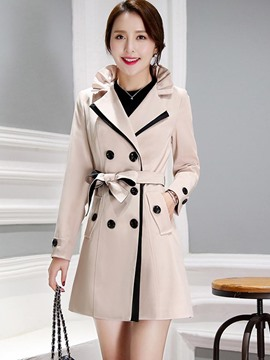 Ericdress Color Block Slim Frill Trench Coat