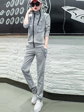 Ericdress Lace Patchwork Hoodie Sports Suit