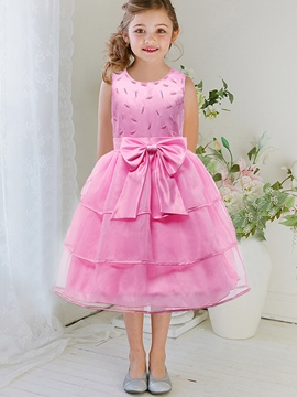 Ericdress Beaded Layers Mesh Bow Tie Girls Dress