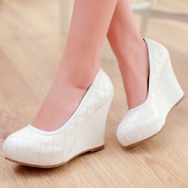 Ericdress Delicate Grid Round Toe Wedges