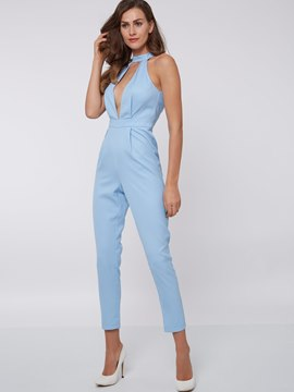 Ericdress Simple Halter Jumpsuits Pants