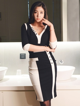 Ericdress Color Block V-Neck Three-Quarter Sleeve Button Sheath Dress
