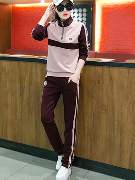 Ericdress Fashion Color Block Hoodie Sports Suit