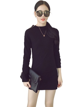 Ericdress Plain Long Sleeve Autumn Little Black Dress