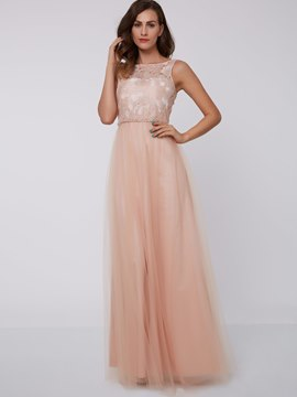 Ericdress A-Line Bateau Beaded Lace Floor-Length Evening Dress