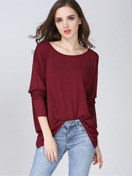 Ericdress Solid Color Backless Pleated T-Shirt