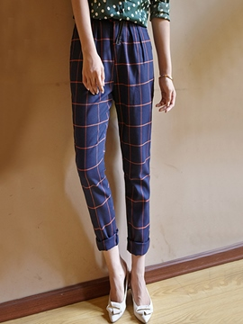 Ericdress Simple Casual Plaid Pants