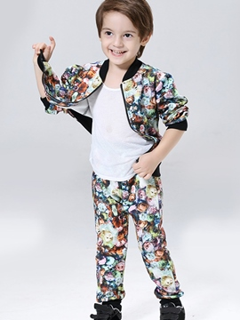 Ericdress Floral Printed Cardigan Thread Patchwork Boys Outfits