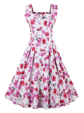 Ericdress Flower Print Pleated Square Neck Casual Dress