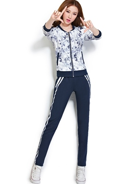 Ericdress Fashion Floral Print Hoodie Sports Suit
