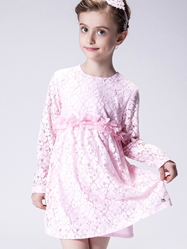 Ericdress Lace Hollow Three-Dimensional Petals Belt Girls Dress