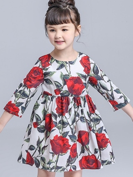 Ericdress Floral Printed Chiffon Pleated Girls Dress