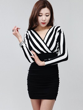 Ericdress Stripe Patchwork Long Sleeve Bodycon Dress