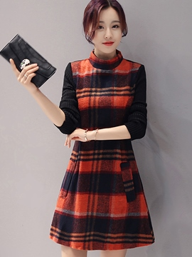 Ericdress Autumn Stand Collar Long Sleeve Plaid Casual Dress