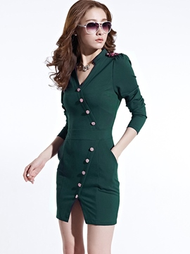 Ericdress Autumn Solid Color Single Breasted Long Sleeve Bodycon Dress