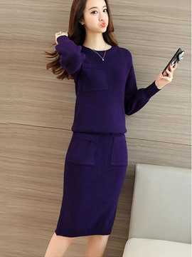 Ericdress Sweet Solid Color Knitwear Suit