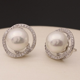Ericdress White Pearl Stud Earrings