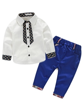 Ericdress Polka Dots Printed Patchwork Lattice Trousers Two-Piece Boys Outfits