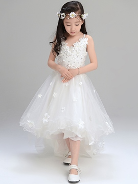 Ericdress Beautiful Spaghetti Straps Asymmetry Flower Girl Dress