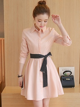Ericdress Polo Collar Solid Color Lace-Up Casual Dress