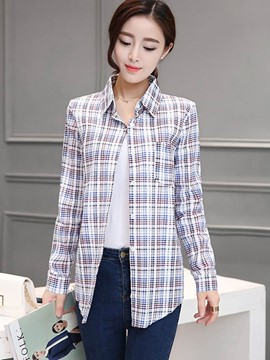 Ericdress Casual Color Block Plaid Blouse