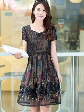 Ericdress Summer U-Neck Print Short Sleeve Casual Dress